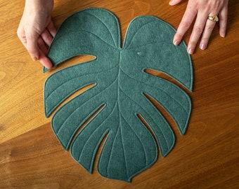 Monstera Leaf reversible table mat placemat centerpiece in Ocean Kelp
