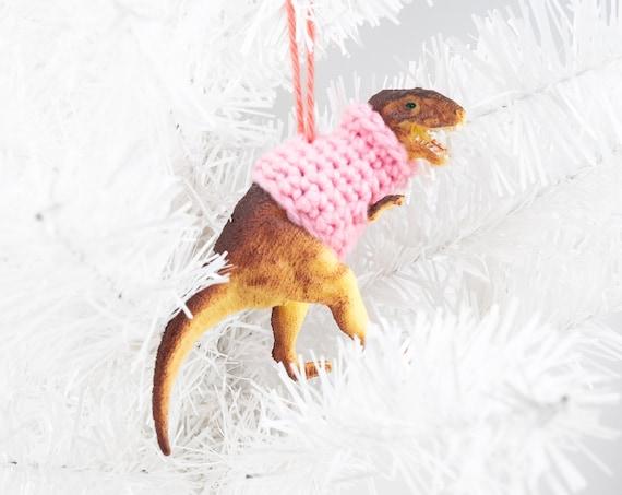 Tyrannosaurus Rex in a Sweater Christmas Ornament