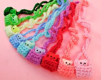 Flocked Teddy Bear Crochet Necklace