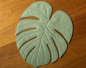 Monstera Leaf reversible table mat placemat centerpiece in Olive green