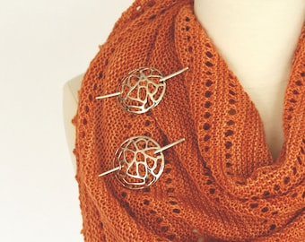 Large AMBAH + CELL Shawl Pins, (choose 1) Sterling Silver.