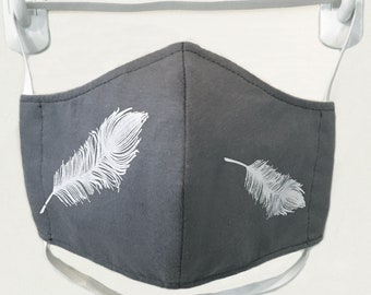 Organic Kids/Adults Mask - feather print, washable with two layers of filter fabric. Available in 4 sizes