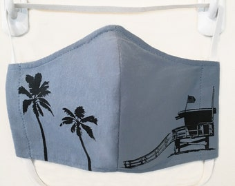 Organic Kids/Adults Mask - lifeguard tower/palm trees print, washable with two layers of filter fabric. Available in 4 sizes