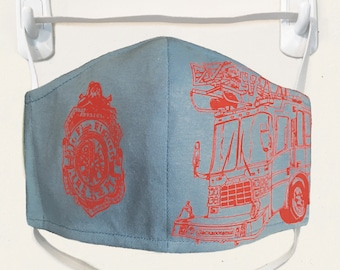 Organic Kids/Adults Mask - firetruck print, washable with two layers of filter fabric. Available in 4 sizes