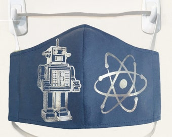 Organic Kids/Adults Mask - silver robot/atom print washable with two layers of filter fabric. Available in 4 sizes