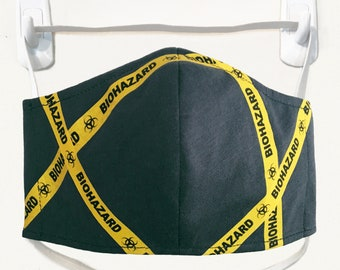 Organic Kids/Adults Mask - Biohazard tape print, washable with two layers of filter fabric. Available in 4 sizes