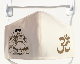 Organic Kids/Adults Mask - Happy Buddha/Ohm print, washable with two layers of filter fabric. Available in 4 sizes