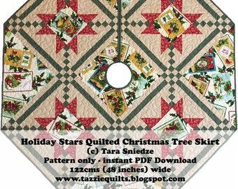 Holiday Stars Quilted Christmas Tree Skirt Pattern