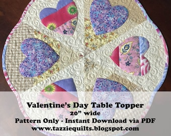 Valentine's Day Table Quilted Topper Pattern - Instant Download via PDF