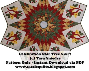 Celebration Star Quilted Christmas Tree Skirt Pattern