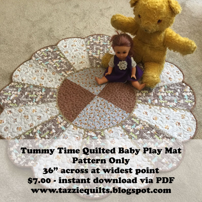 Tummy Time Quilted Baby Play Mat  Pattern Only image 0