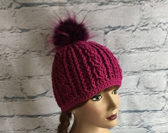 Crocheted Slouch Hat in Wine Burgandy with a Faux Fur Pom Pom Woman or aTeen