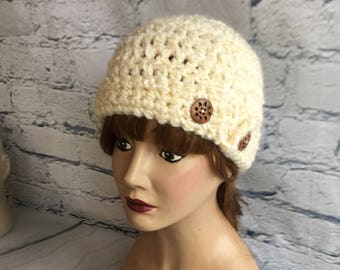 Chunky Crochet Beanie with Brim and Two Big Buttons in Cream Woman Teen Fitted Skull Cap
