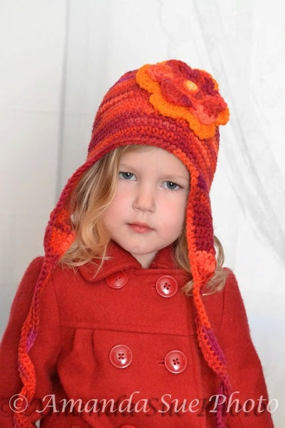 Crochet Pattern For A Child Flowered Earflap Hat With Braids Etsy