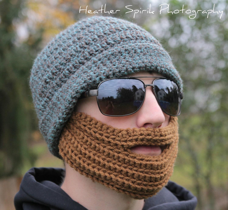 Crochet Hat With Beard Pattern Adult Teen Beard Hat Skiing Etsy