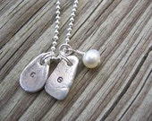PMC Fine Silver Custom Freeform Initial Pendants with Bead Dangle on Sterling Ball Chain