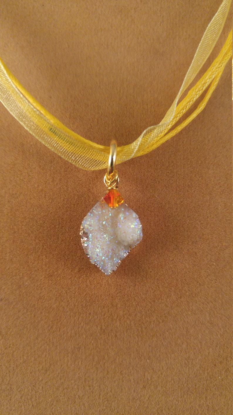White druzy drop ribbon necklace