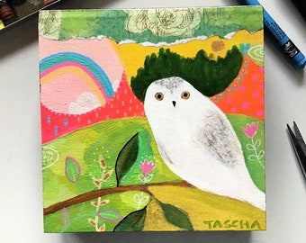Original Snowy Owl painting Abstract nature acrylic on wood colorful cute snow owl forest boho mystic artwork by TASCHA