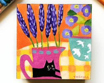 Original Lavender floral still life painting black cat on jug cute white birds on potted plant acrylic painting on wood by TASCHA naive art