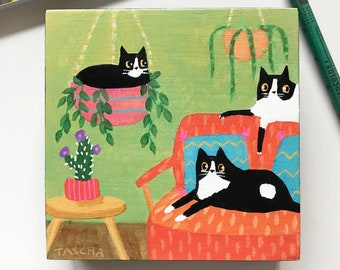 Original 3 cats in living room tuxedo cat black and white in plants small naive cat folk art hand painted acrylic on wood by TASCHA
