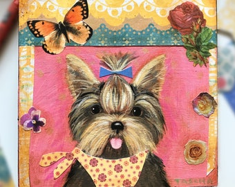 Original Yorkshire Terrier painting collage cute yorkie dog mixed media folk art naive artwork small acrylic on wood by TASCHA 5x5 puppy
