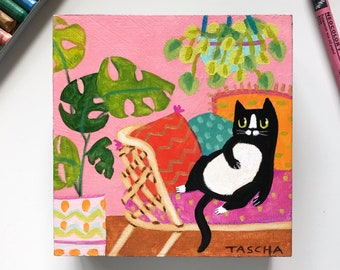 Original lounging tuxedo cat painting boho cat on wicker daybed small acrylic painting naive cat folk art black and white cat by TASCHA