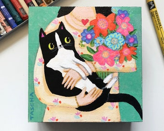 Original Tuxedo Cat bouquet of flowers painting small acrylic painting cat bee naive folk art woman and cat artwork by TASCHA black cats
