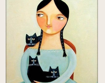 PRINT 3 BLACK CATS portrait with woman in blue dress folk art painting print by Tascha