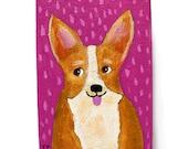 SALE - Original mini acrylic painting CORGI  dog tiny ACEO folk art on wood by tascha