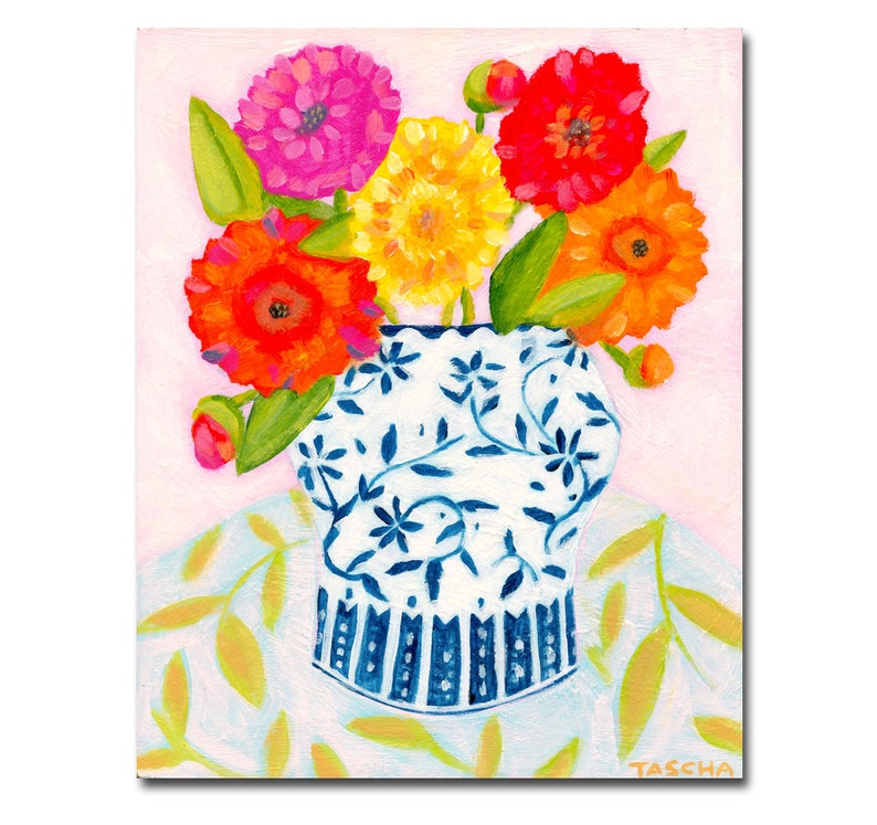 ORIGINAL floral in blue and white vase FLOWERS colorful image 0