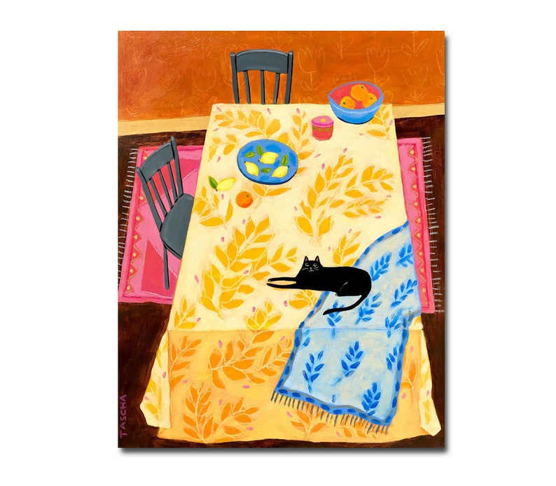 ORIGINAL tablescape Black cat on tablecloth painting acrylic image 0