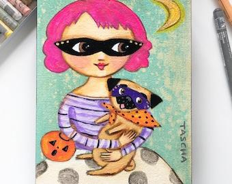 Original Pug Halloween painting cute pink hair girl with fawn pug halloweenie masked dog small painting acrylic on canvas by TASCHA