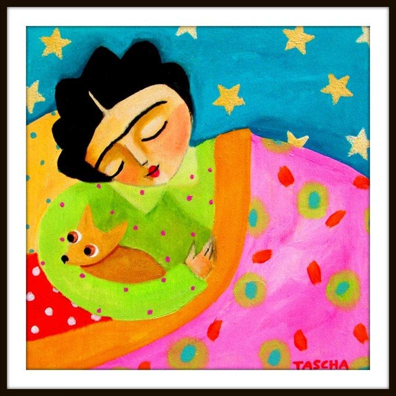 PRINT sleepy chihuahua poster print of painting tan chihuahua image 0