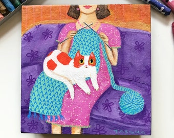 Original Orange and White Spotted cat knitting painting cute knitter with kitty on lap small naive cat folk art painting yarn knit TASCHA