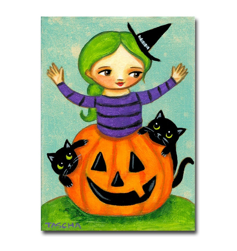 Original Witch with 2 black cats painting pumpkin halloween image 0
