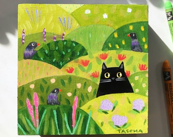 Original Black Cat with Pigeons painting small floral naive cat folk art landscape acrylic painting on wood 5x5 nursery art by TASCHA