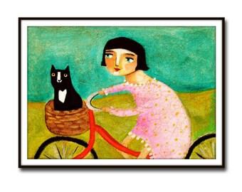 PRINT tuxedo cat bike ride to the vet CUTE cat folk art poster print of painting black cat on bicycle naive art by Tascha