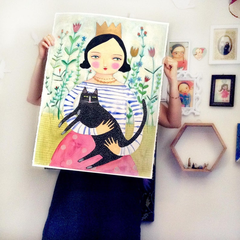 HUGE Original mixed media Queen of Cats painting drawing one image 0