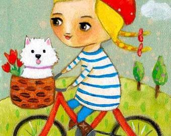 Westie DOG on a bike ride PRINT of folk art painting by tascha