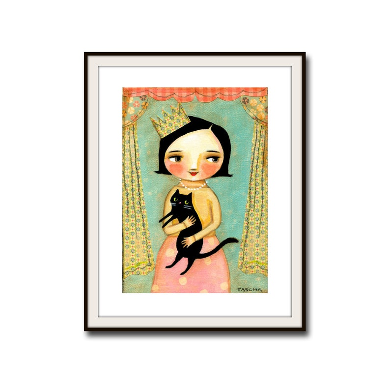 PRINT Catlady with Black Cat QUEEN of cats folk art poster image 0