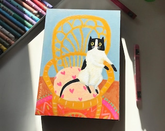 Original Cat Portrait painting Acrylic painting of black and white cat on wicker chair boho pet portrait cute kawaii cat bohemian art TASCHA
