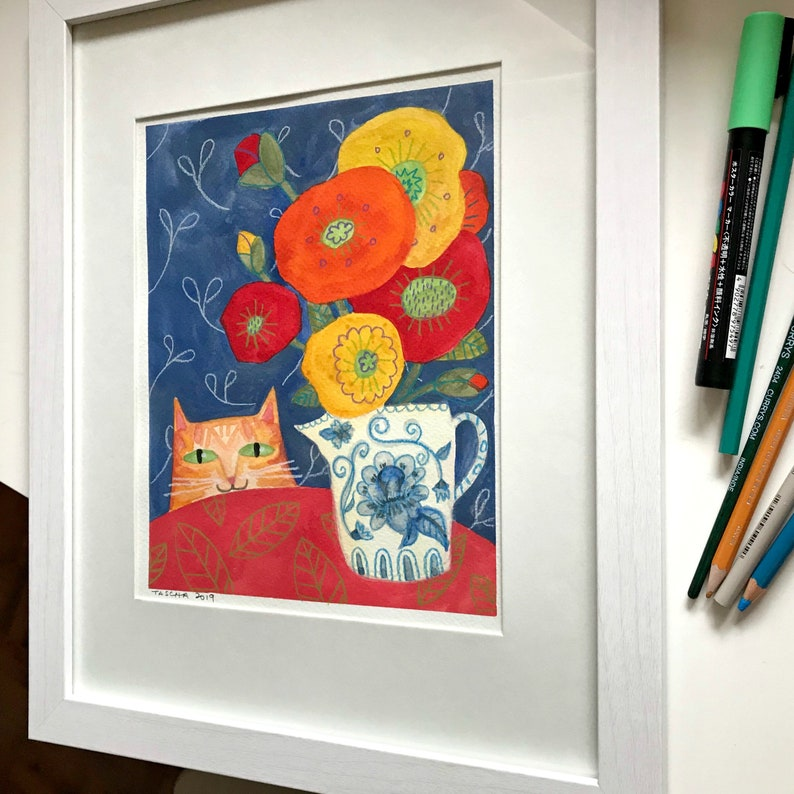 Original Watercolor and colored pencil painting Orange Tabby image 0