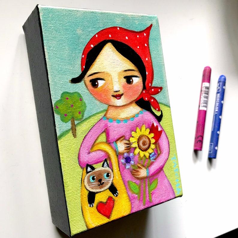 ORIGINAL babushka with siamese cat painting cute mini original image 0