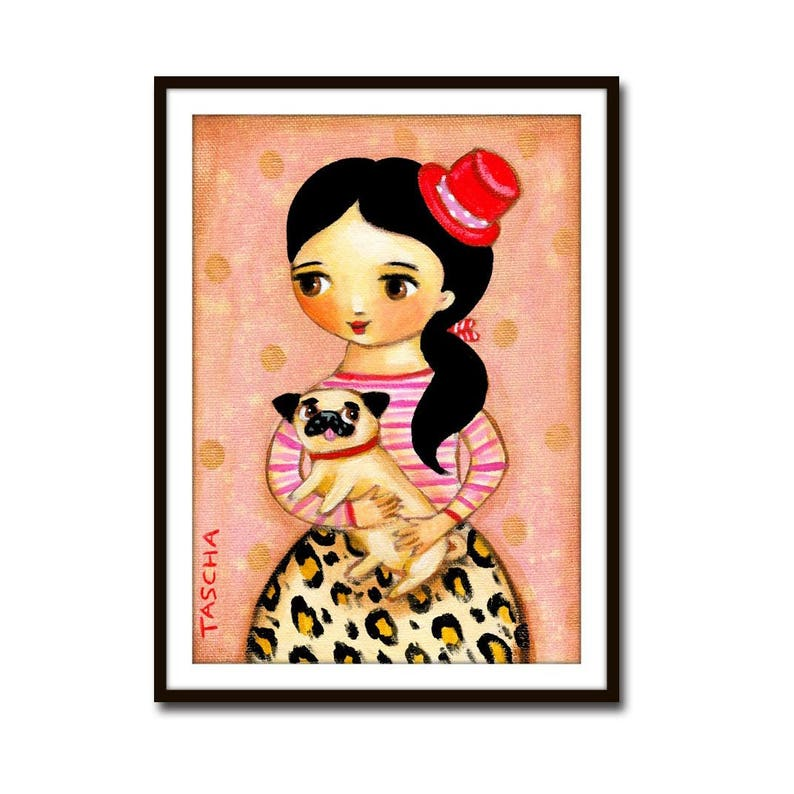 PRINT of PUG dog sweet poster print of Girl in Leopard Print image 0