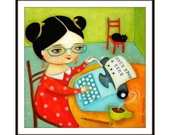 PRINT blue typewriter the little writer painting cute author with black cat folk art poster print of painting by Tascha