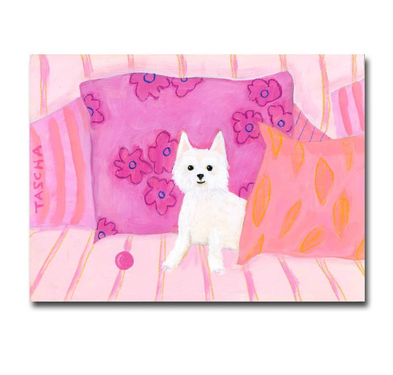 ORIGINAL Westie painting West Highland Terrier dog art cute image 0