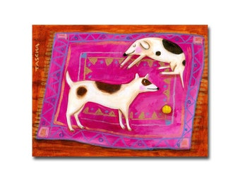 ORIGINAL Dogs on a pink rug painting sleepy dog and playful dog folk art original painting naive art by Tascha
