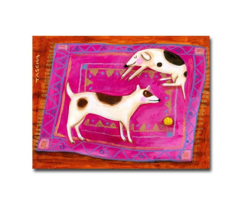 ORIGINAL Dogs on a pink rug painting sleepy dog and playful image 0