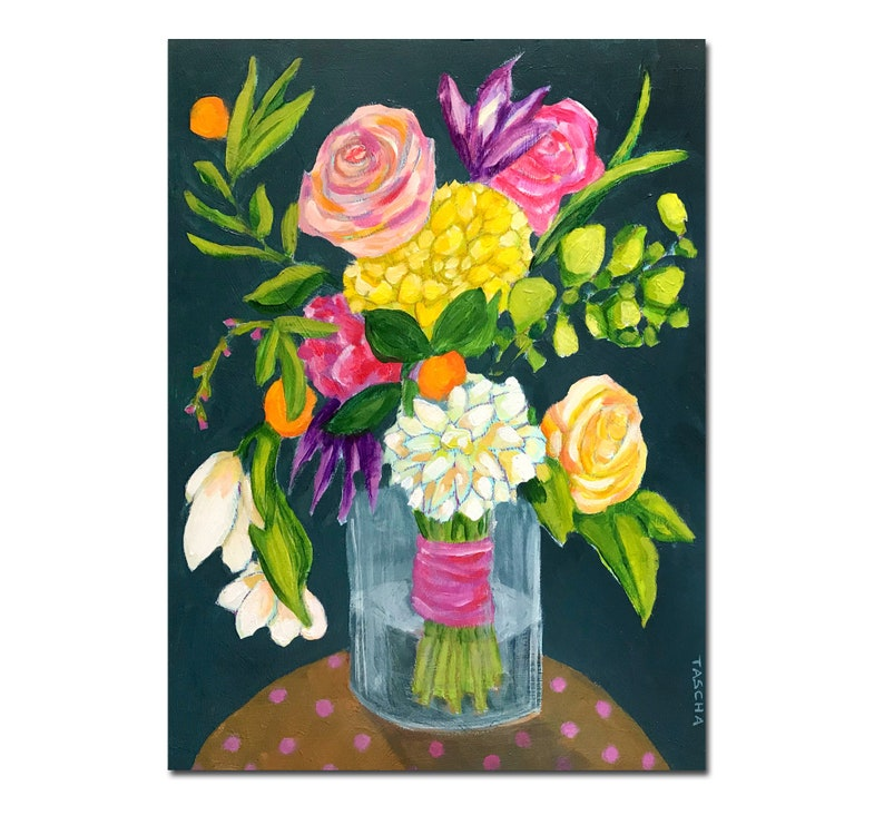 Original FLORAL bouquet painting Large 16x12 acrylic on wood image 0