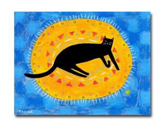Original Black cat on Orange Rug painting modern folk art painting cats on rugs series acrylic painting by Tascha